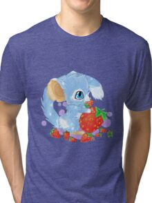 Cute Blue Mouse With Berries Tri-blend T-Shirt
