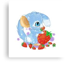 Cute Blue Mouse With Berries Canvas Print