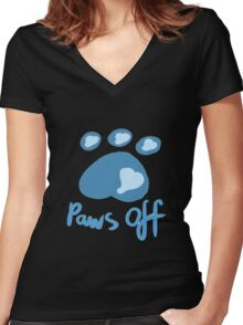 Paws off Women's Fitted V-Neck T-Shirt