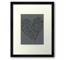 Quotes of the Heart - Janto (Black) Framed Print
