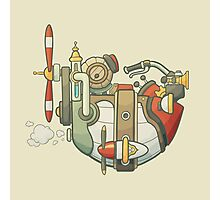 Cartoon steampunk styled flying airship with propeller and wheel Photographic Print