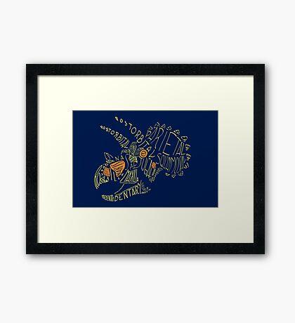 Analogous Colors Calligram Triceratops Skull Framed Print