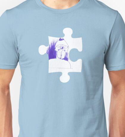 Blue sketch on a puzzle piece Unisex T-Shirt