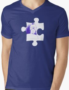 Blue sketch on a puzzle piece Mens V-Neck T-Shirt