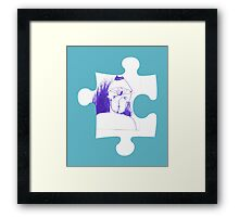 Blue sketch on a puzzle piece Framed Print
