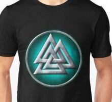 Norse Valknut - Silver and Teal Unisex T-Shirt