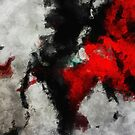 Black and Red Minimalist Abstract Painting by Deniz Akerman