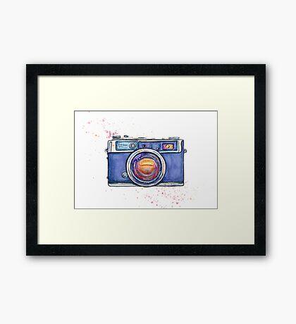 Watercolor vintage photo camera Framed Print