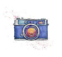 Watercolor vintage photo camera Photographic Print