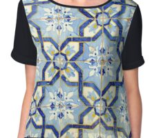 Portuguese tiles. Blue flowers and background Chiffon Top
