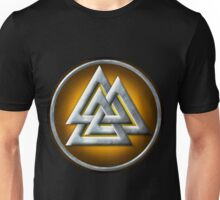 Norse Valknut - Silver and Yellow Unisex T-Shirt