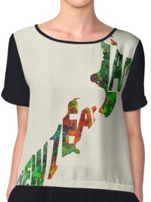 New Zealand Typographic Watercolor Map Chiffon Top