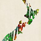 New Zealand Typographic Watercolor Map by Deniz Akerman