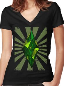 the Sims diamond Women's Fitted V-Neck T-Shirt