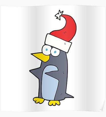 cartoon christmas penguin Poster