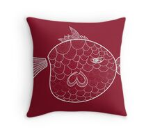 BOBO the FISH | Red Throw Pillow