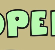 cartoon open sign Sticker