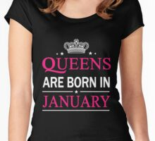 Queens Are Born In January Birthday Gift Shirt Women's Fitted Scoop T-Shirt