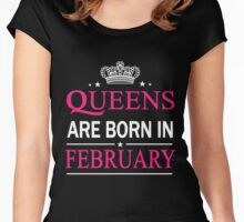Queens Are Born In February Birthday Gift Shirt Women's Fitted Scoop T-Shirt