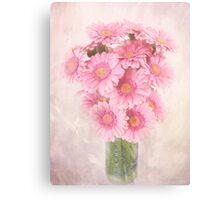 Staggered Bouquet of Pink Gerbera Daisies Canvas Print