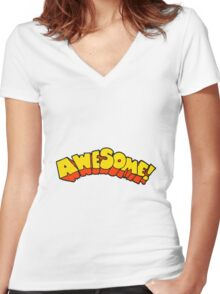 cartoon word awesome Women's Fitted V-Neck T-Shirt