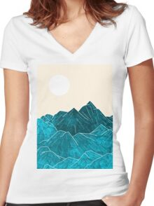 The mountains under the white sun Women's Fitted V-Neck T-Shirt
