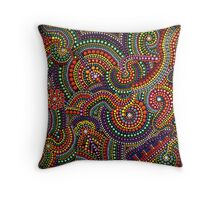 COLORFUL LIFE - dot art painting by Dutch artist Tessa Smits Throw Pillow