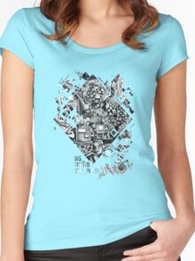 Distortion Sympathy - Watercolor Painting B&W Women's Fitted Scoop T-Shirt