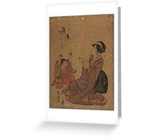 A modern allegory of the Chinese sage Zhang Guo lao - Toyohiro Utagawa - 1795 Greeting Card