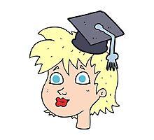 cartoon graduate woman Photographic Print