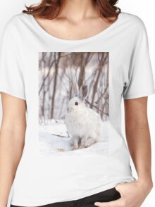 Snowshoe hare (Lepus americanus) in winter Women's Relaxed Fit T-Shirt