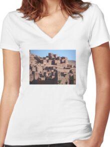Morocco, a very old Sahara Desert Village Scene Women's Fitted V-Neck T-Shirt