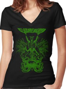 Electric Wizard - Baphomet (Green) Women's Fitted V-Neck T-Shirt