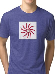 Chili peppers laid out in a circle on a white background Tri-blend T-Shirt