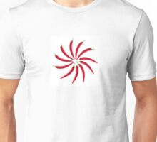 Chili peppers laid out in a circle on a white background Unisex T-Shirt