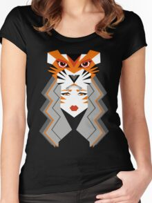 Warrior tiger girl Women's Fitted Scoop T-Shirt
