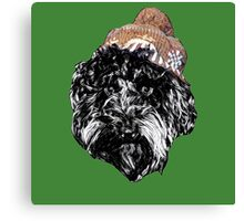 Cockapoo in a winter hat (Green) Canvas Print