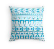 Blue Scandinavian Penguin Holiday Design Throw Pillow