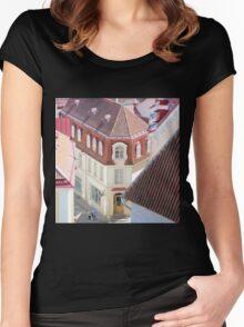 Walking in Tallinn City Center Women's Fitted Scoop T-Shirt