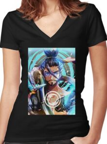 OVERWATCH HANZO Women's Fitted V-Neck T-Shirt