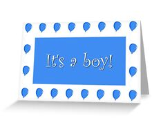 It's A Boy Birth Announcement Greeting Card With A Blue Balloon Border Greeting Card