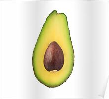 Half avocado with stone isolated on white background Poster