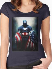 captain amerika Women's Fitted Scoop T-Shirt