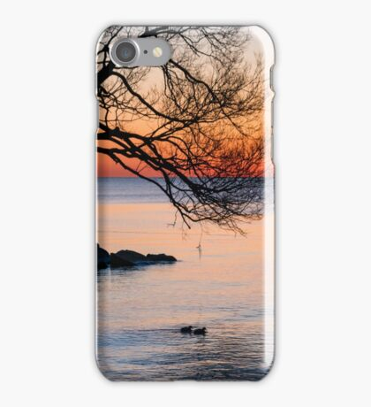 Just Before Sunrise - Bright Cold and Colorful on the Lakeshore iPhone Case/Skin