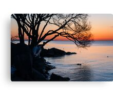 Just Before Sunrise - Bright Cold and Colorful on the Lakeshore Canvas Print