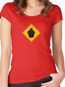 Cupcake Crossing Sign Women's Fitted Scoop T-Shirt