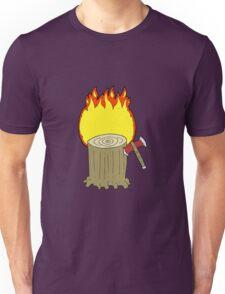 cartoon tree stump and axe Unisex T-Shirt