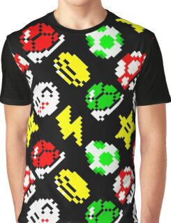 Super Mario Kart / items pattern / black Graphic T-Shirt