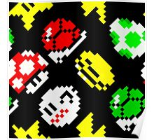 Super Mario Kart / items pattern / black Poster
