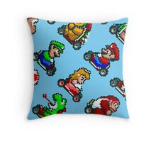 Super Mario Kart / 8 characters pattern / blue sky Throw Pillow
